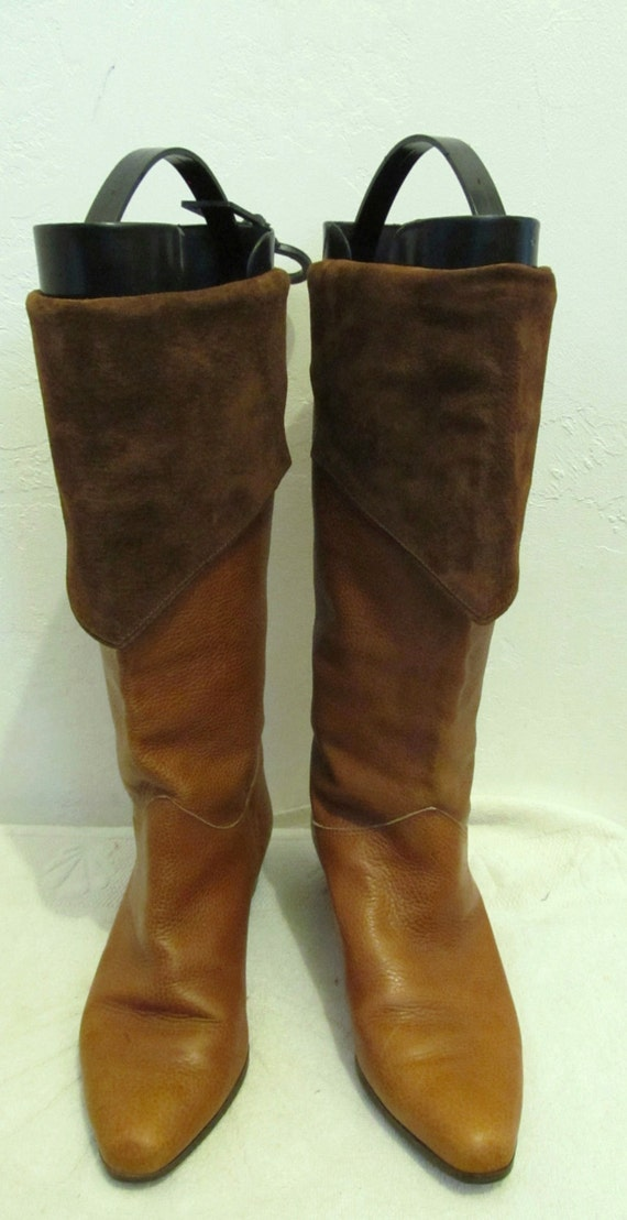SUEDE amp; Down Brown Women's LEATHER Tall 80's Boots 7M ITALIAN Tone Marked 2 Vintage vBaZxwx