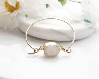 Druzy Bracelet, Raw Druzy Antique Gold Bracelet, Natural Druzy Jewelry White Druzy Bangle Cuff Bracelet