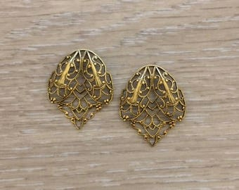 Filigree Stampings, Gold Filigree, Gold Stampings, 4 pcs