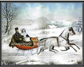 SALE Sleigh Horse Winter Scene Instant 5x7 Card Art Print Snow Painting INSTANT DOWNLOAD 1/2 price