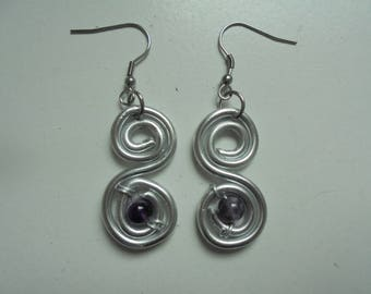 Spiral with Amethyst natural stone earrings