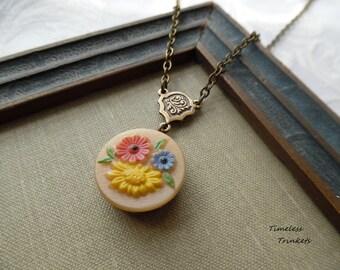 Vintage German Glass Button Necklace, Dutch Garden