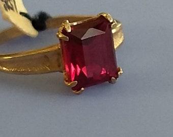 Vintage July Ruby Birthstone Ring Gold Filled Size 6