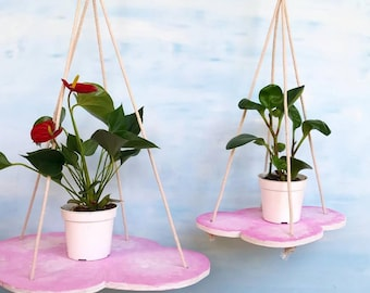 Hanging pink cloud shelf, plants in the clouds, plant hanger, indoor plantscaping, cloud decor