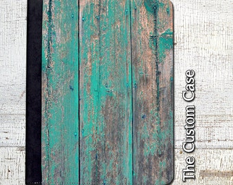 Turquoise Wood Ipad Case, Distressed Wood Ipad Case, Notebook Ipad Case, Ipad 2/3/4 Case, Ipad Air Case, Ipad Mini 1/2/3/4