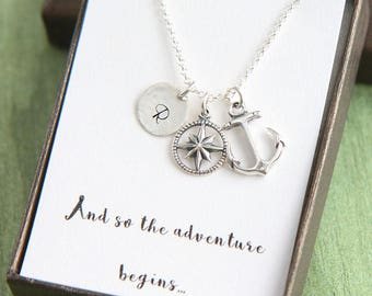 Compass Necklace, Anchor Compass Necklace, Journey Necklace, Personalized Necklace, College Graduation for Her, And so the adventure begins