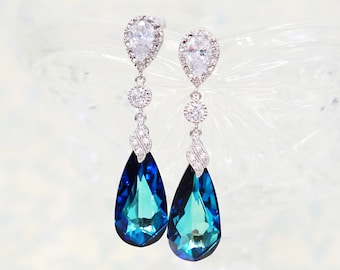 Swarovski Bermuda Blue Faceted Teardrop Crystal Earrings Necklace Jewelry , Bridal Earrings, Bridesmaid Jewelry, Weddings - Wasima