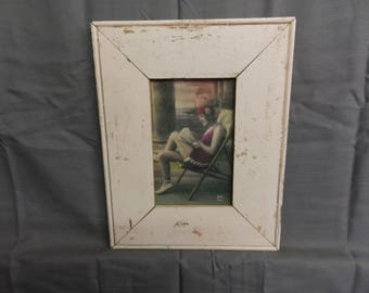 SHABBY ARCHITECTURAL Chic Salvaged Pink Recycled Wood Photo Picture Frame 4x6 181-17P