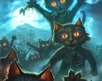 Zombie Cats // 8 X 10 PRINT // Zombie Apocalypse // Undead cat // Vampire cat // Halloween black cat // Zombie Kitties
