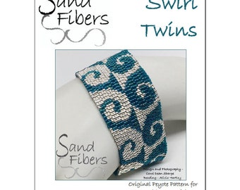 Peyote Pattern - Swirl Twins Cuff / Bracelet  - A Sand Fibers For Personal and Commercial Use PDF Pattern