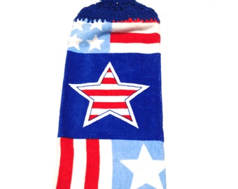 Patriotic Star Hand Towel With Royal Blue Crocheted Top