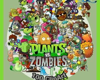 Plants vs Zombies 100 -Digital-ClipArt-PNG-image- PNG Images-Digital Clip Art background-Pokemon Scrapbooking-Instant Digital