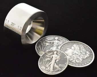"""One Universal Reduction die for the """"Fat Tire Look"""" and small sizes on large coins 1.1"""" x 1.2"""" at 25 degrees"""