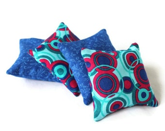 Blue Teal Aqua & Pink Circles Bean Bags Girls Summer Toy Party Favor Mini Bean Bags (set of 4) - US Shipping Included