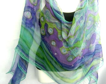 Hand Painted Silk Scarf, Blue Green Purple, Abstract Silk Chiffon Scarf, Gift For Her, Genuine Handmade
