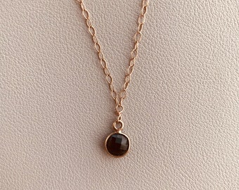"The ""Sarina"" bezeled smoky quartz 14k rose gold filled necklace"