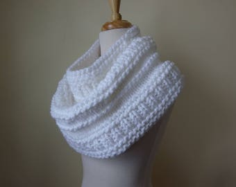 Knit Cowl, Chunky Acrylic Cowl, Infinity Scarf, Circle Scarf, Neck Warmer, Snood, Textured Cowl in Snow White - Ready to Ship Gift for Her