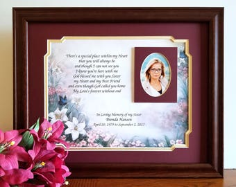Sister Memorial Frame, Personalized, Loss of Sister, Sister Memorial Gift, In Memory of Sister, Sympathy Gifts, Memorial Picture Frames