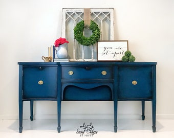 Buffet / Sideboard / Vintage Buffet / Blue Buffet / Crendenza Media Center  / Hand Painted Furniture / Sideboard Large / Buffet Table