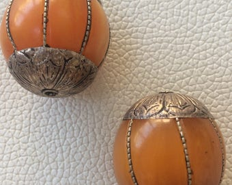 Vintage Beeswax Tibetian Amber collectors beads with silver enhansments