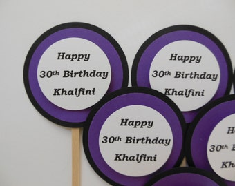 Personalized 30th Birthday Cupcake Toppers - Purple, Black and White - Adult Birthday Decorations - Set of 6