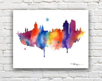 Amsterdam Skyline - Watercolor Art Print - Wall Decor
