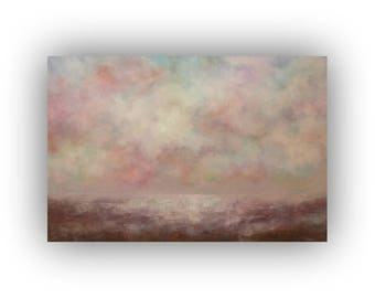 Large Landscape Painting, Abstract Sky Clouds and Field Oil on Canvas, Original 24 x 36 Pink and Brown Palette Knife Art