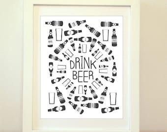 Beer, Beer Art, Beer Print, Beer Poster, Home Decor, Kitchen Print, Beer Bottle, Beer Bottle Art, Beer Artwork, Beer Bottle Artwork