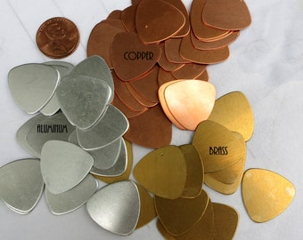 "24 GUITAR PICK Blanks, Copper, 7/8"" Brass or Aluminum, Bulk Lot,  Ready to Ship!"