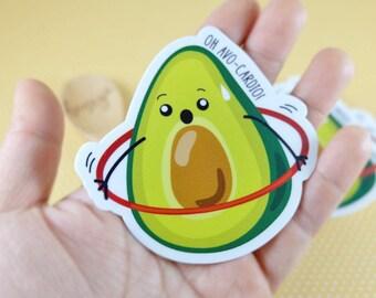 Avo-Cardio, Funny Stickers, Avocado, Hula-Hoop, Vinyl Stickers