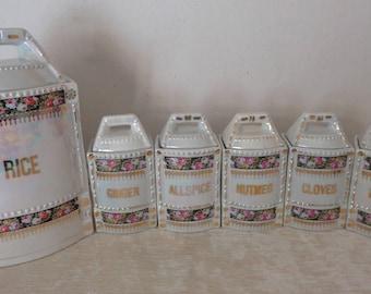 Antique Vintage German Porcelain Canister Set, Porcelain Canisters, made in Germany