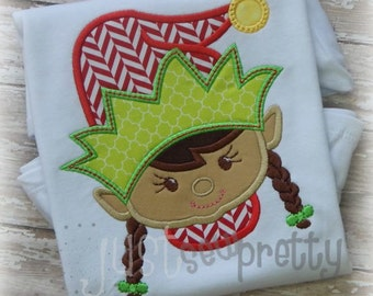 Girl Elf Face Embroidery Applique Design