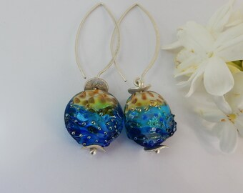 Sealife Earrings - Focal Bead - Lampwork Glass Earrings- Handmade Jewelry - Women's earring