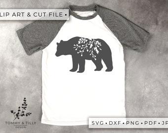 Bear Silhouette - Clipart & Cut File - Hand Papercutting - Cricut / Silhouette - SVG DXF PNG Pdf Jpg - Kids Children Nursery