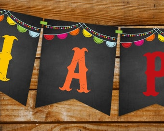 Mexican Fiesta Happy Birthday Banner -  Instantly Downloadable and Editable File - Personalize and Print at home with Adobe Reader