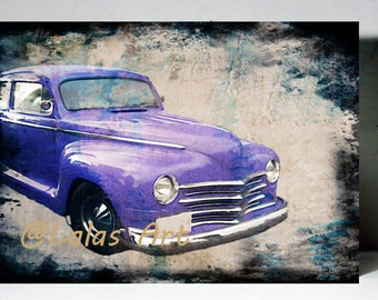 Vintage Retro Style Art Old-timer Vintage American car Painting Home décor Wall Art Mix media Lalas Art Fine Arts