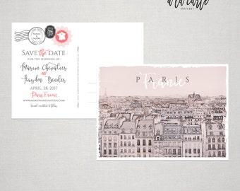 Destination Paris France wedding - illustrated invitation - Wedding Save the Date Card  postcard sketch drawing - Deposit Payment