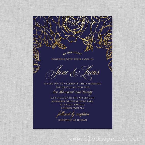 Wedding invitation template, Simple Wedding Invitation, Beauty and the beast wedding invitations, Custom wedding invitations, Navy Blue Gold