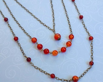 Beauty Gift Long, Three Strand Red Agate Gemstone Orange Necklace With Gold Plated Brass Chain and Accents