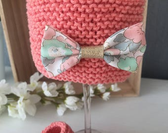 Limited Edition Hat wool cotton coral and liberty Betsy Japanese