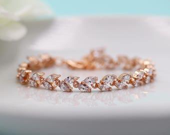 Rose Gold Bracelet, Wedding Bracelet, Rose Gold Jewelry, Rose Gold Bridal Bracelet Jewelry, Evelyn Crystal Rose Gold Bracelet