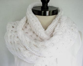 White Winter Scarf, Warm Knitted Long Scarf, Hand Knitted Scarves, Gifts for Her, Long Knitted Scarf, Mens scarf White Scarf