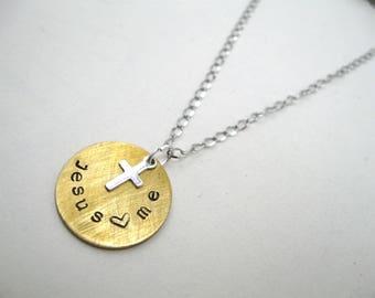 Confirmation Cross necklace custom, personalized cross necklace, Jesus loves me necklace, girls confirmation necklace, cross necklace girls