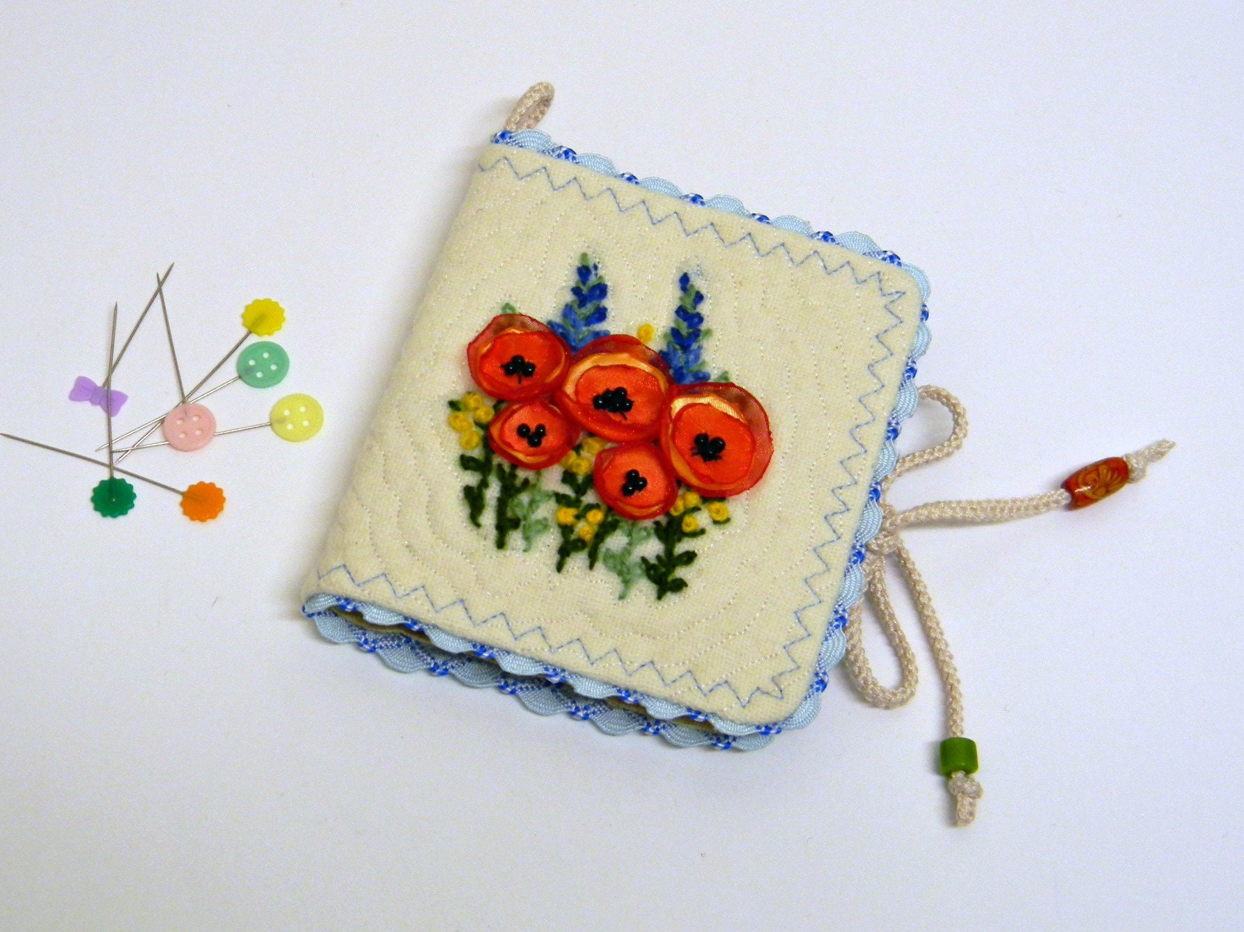 Embroidered Needle Book Of Wild Flowers Silk Red Poppies Crewel