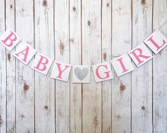 BABY GIRL BANNER, banner girl decor, baby girl sign, baby shower banner, pink silver baby shower, baby girl decorations, baby girl sign
