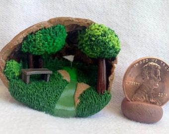 Golf Course Mini Diorama in a Walnut Shell