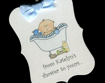 Personalized Baby Boy Shower Tags - From My Shower To Yours - Baby Boy Soap Tags - Baby Boy - Baby Shower Favor Tags