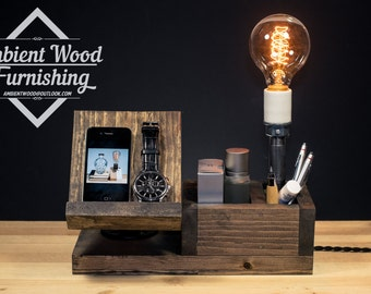 Wood Docking Station Lamp With BedSide Utility Storage Box Apple watch dock charger