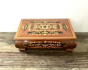 Vintage Inlaid Wooden Musical Jewelry Box / Mapsa Swiss Music Box