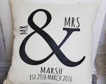 Mr & Mrs personalised cushion,Wedding Gift,Cushion,Personalised